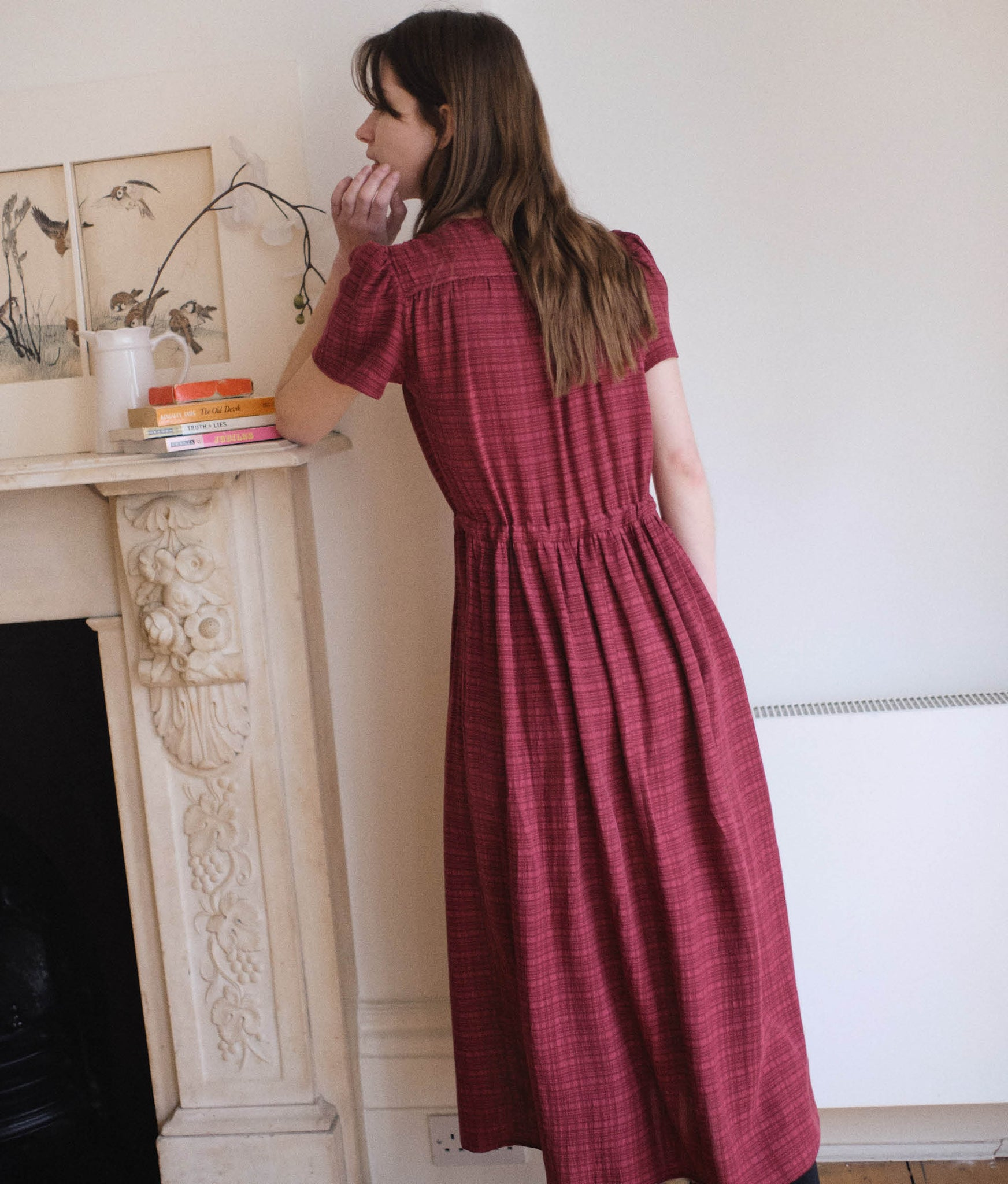The Dawn Dress | Bordeaux Stripe