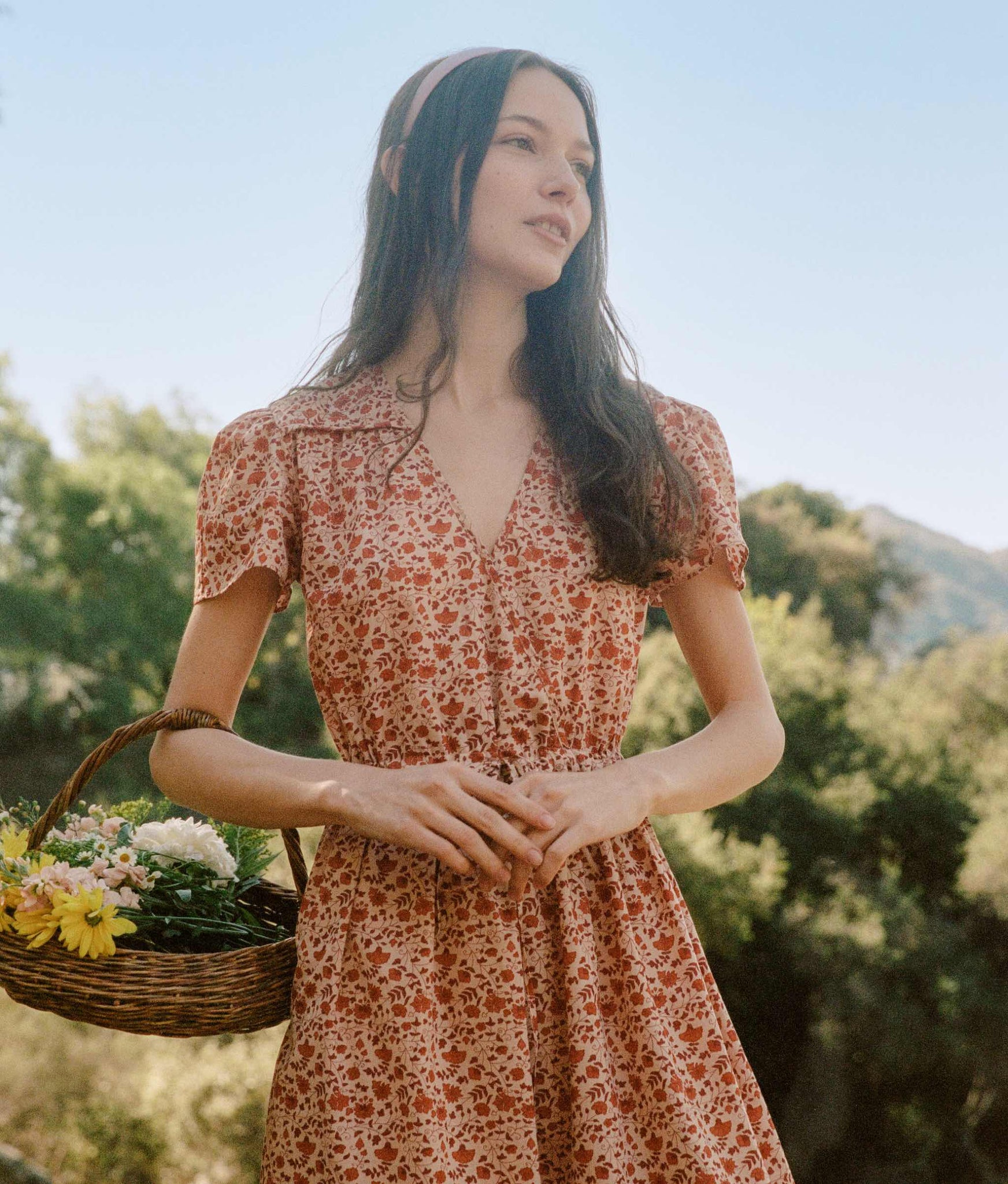 The Dawn Dress Petites | Mandarin Ditsy Field