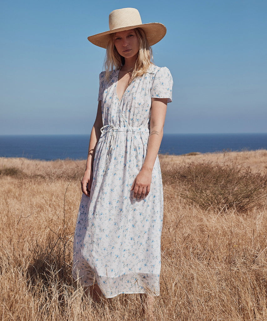 The Dawn Dress Petites | White and Blue Floral image 11