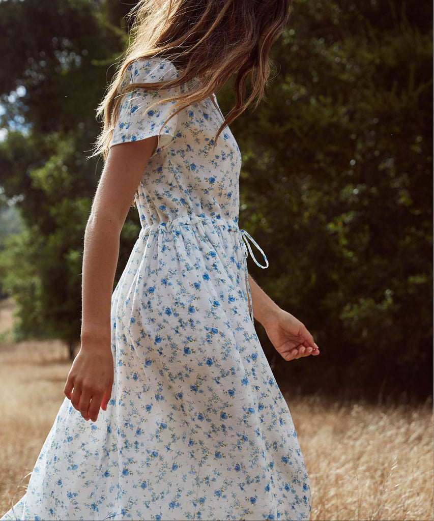 The Dawn Dress | White and Blue Floral (Lined) image 12