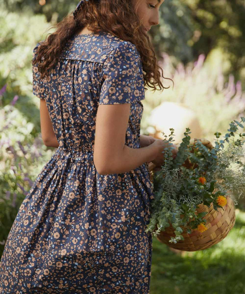 The Dawn Dress | Navy Anemone Vine