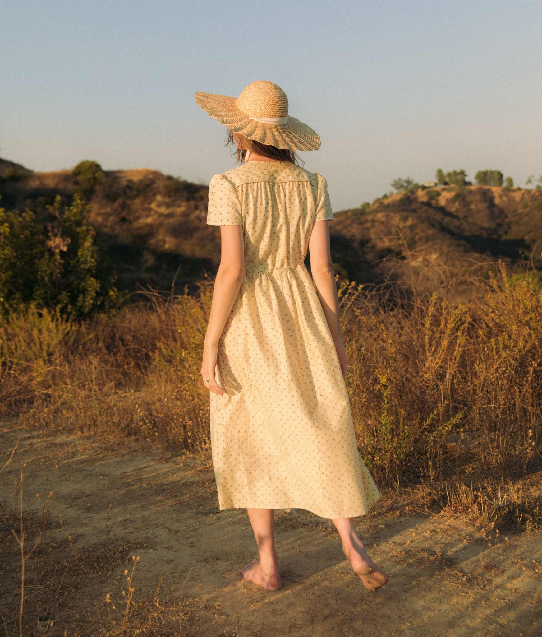 The Dawn Dress | Natural Ditsy Silk-Cotton (Block Printed)