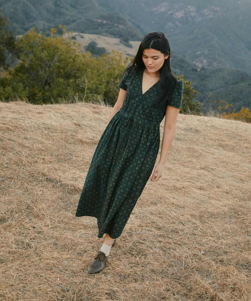 The Dawn Dress | Linden Daisy Field (Block Printed)