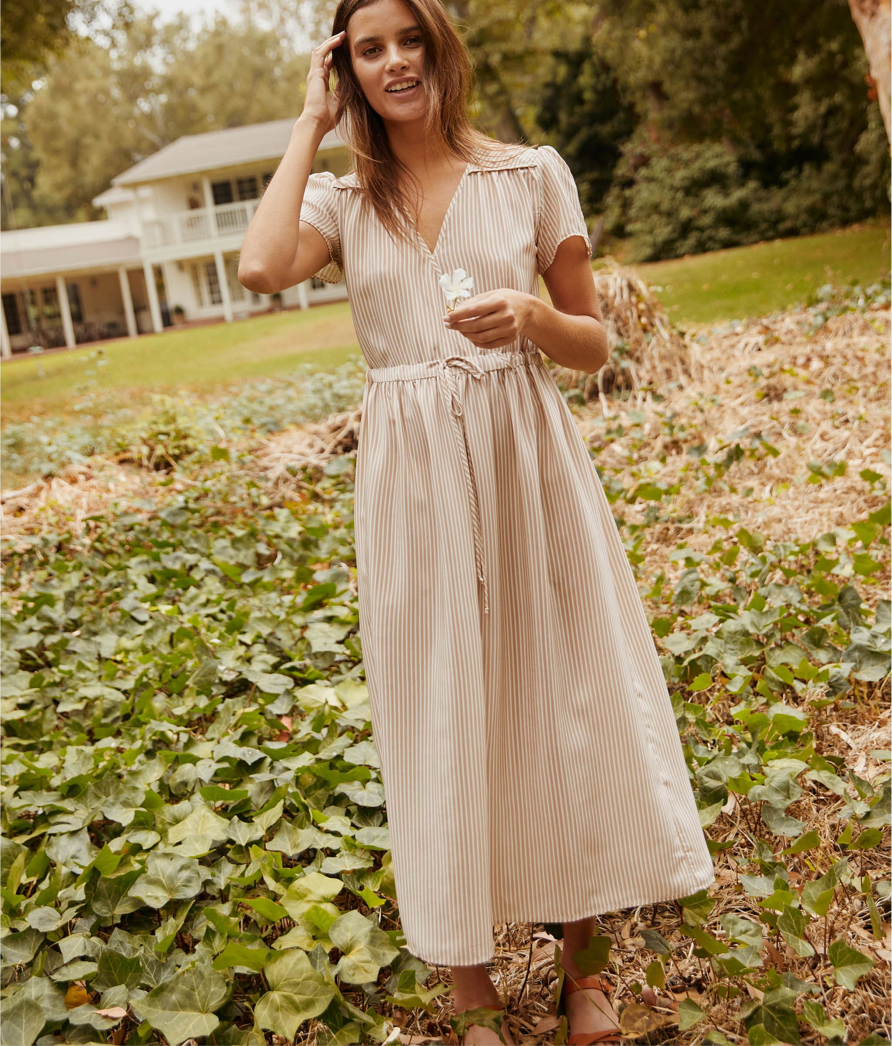 The Dawn Dress | Washed Taupe Stripe