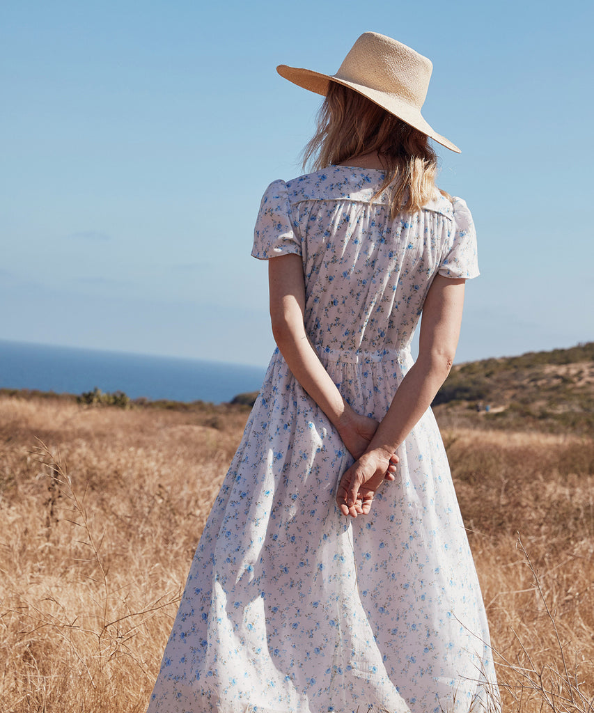 The Dawn Dress Petites | White and Blue Floral image 15