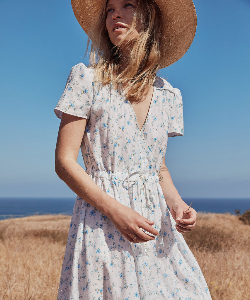 The Dawn Dress Petites | White and Blue Floral