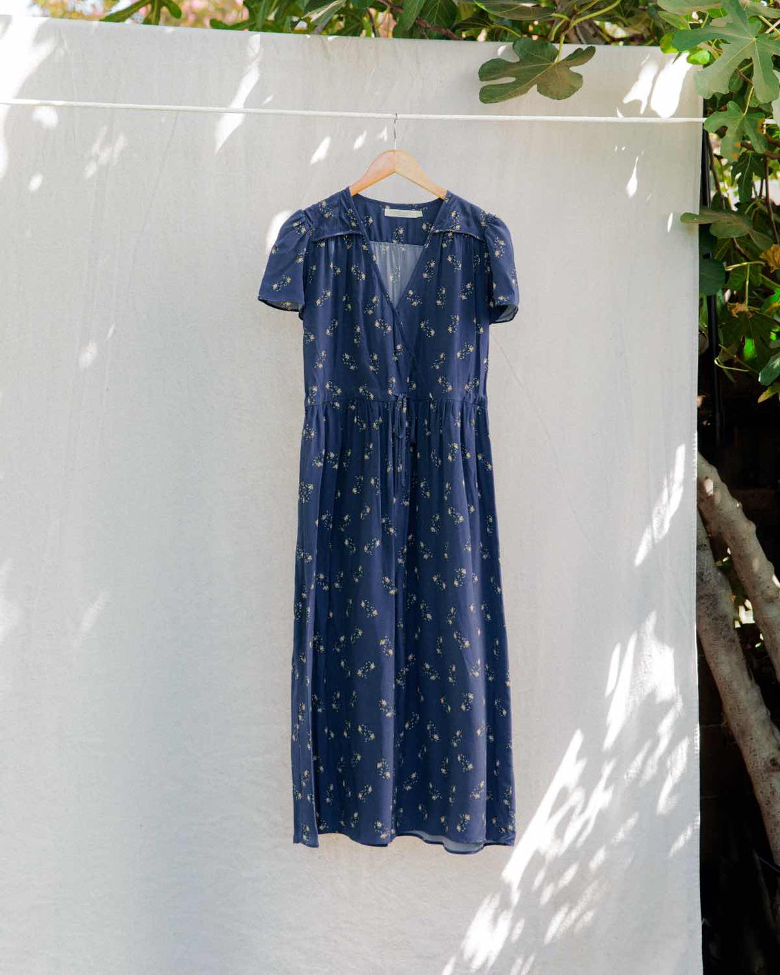 The Dawn Dress | Washed Navy Daisy Silk