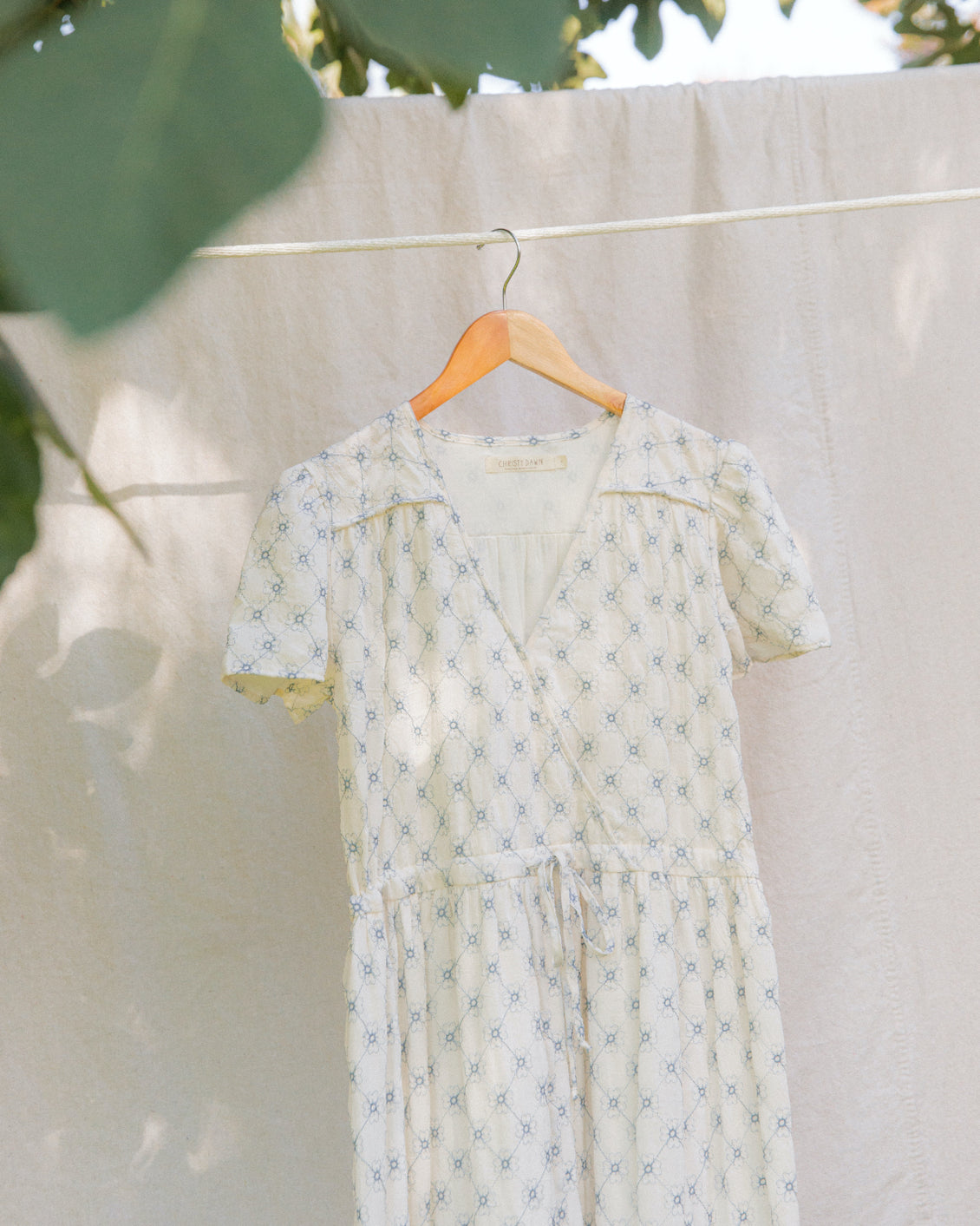 The Dawn Dress | Dusk Blue Embroider (Lined & 1-of-a-Kind)