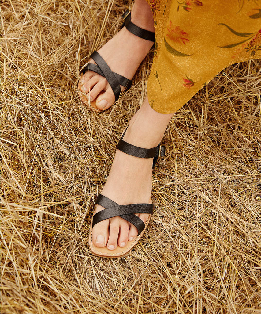 The Dawn Sandal | Noir Leather