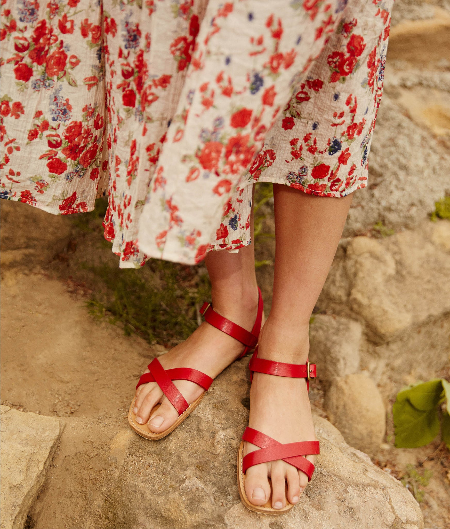 The Dawn Sandal | Carmine Leather
