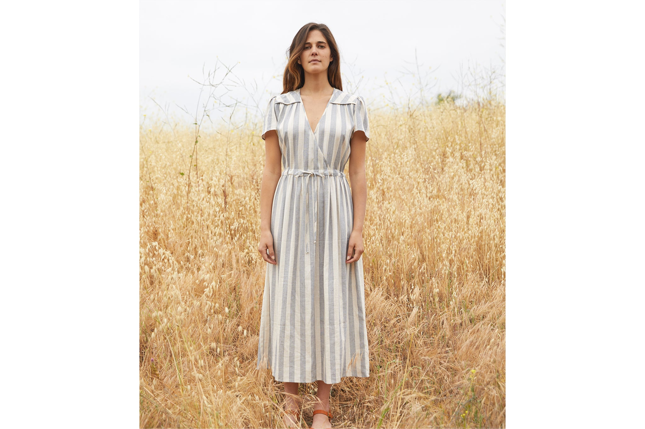 The Dawn Dress | Washed Sky Stripe (1-of-a-Kind)