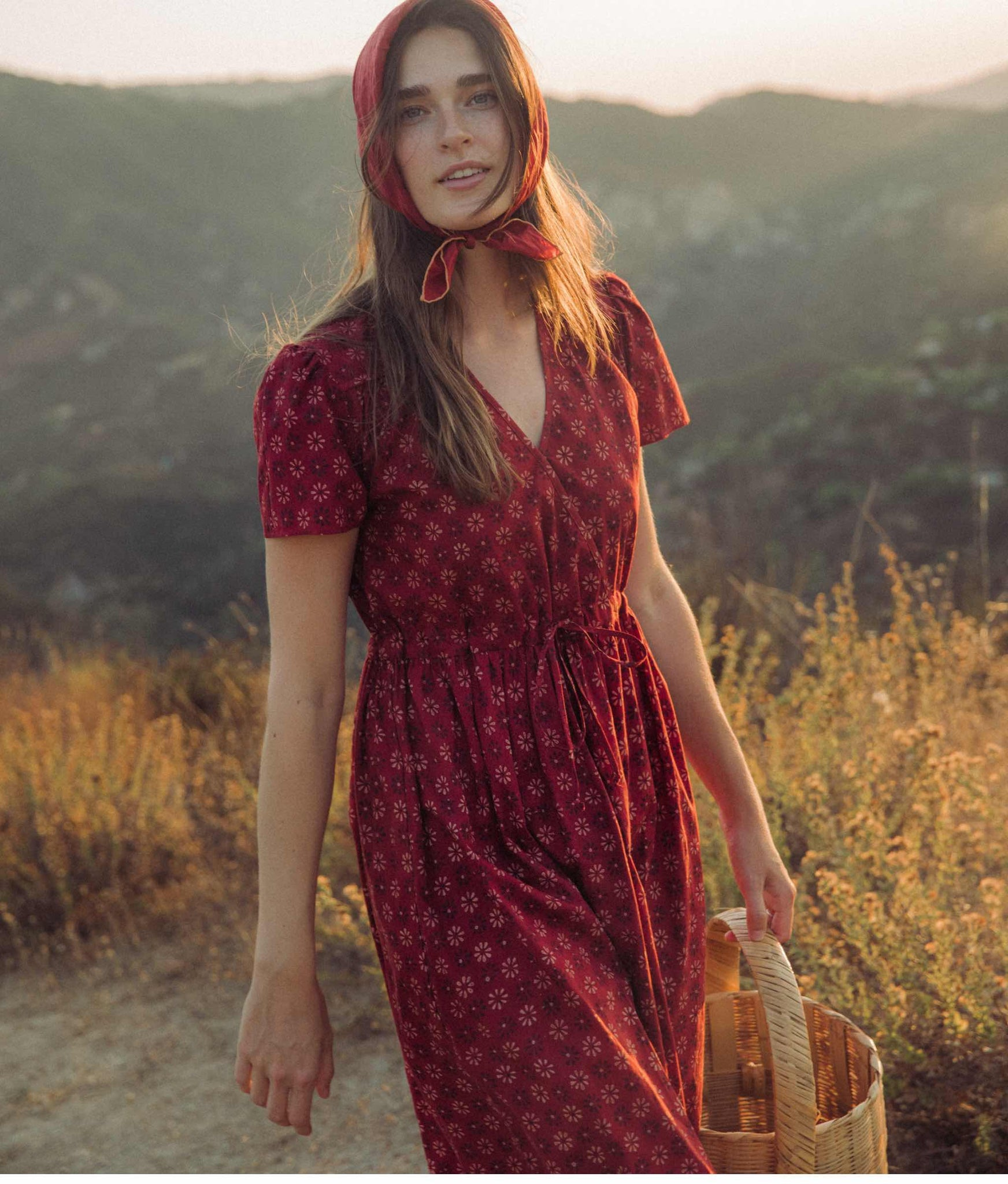 The Dawn Dress | Crimson Daisy Field (Block Printed)