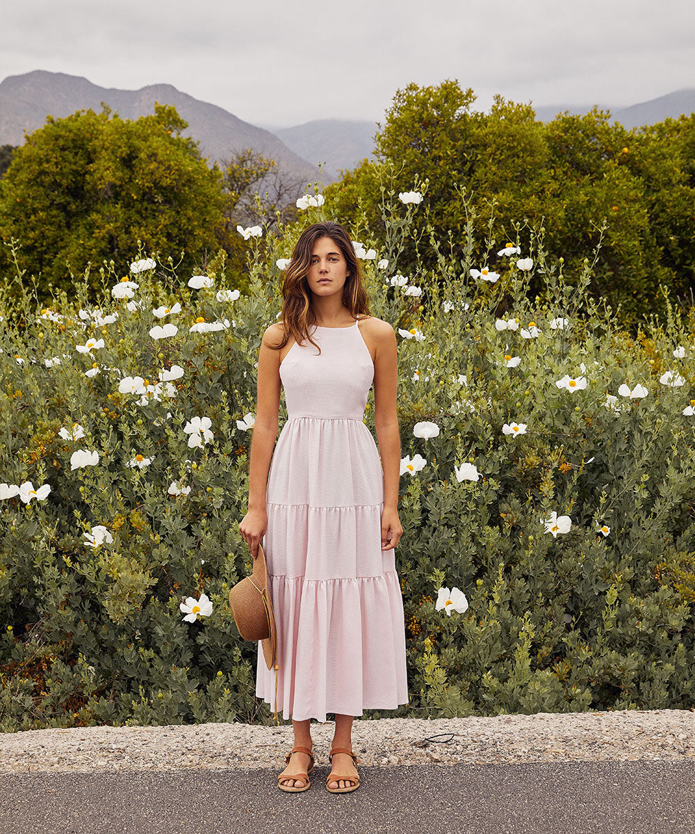 The Delphine Dress | Blush Houndstooth