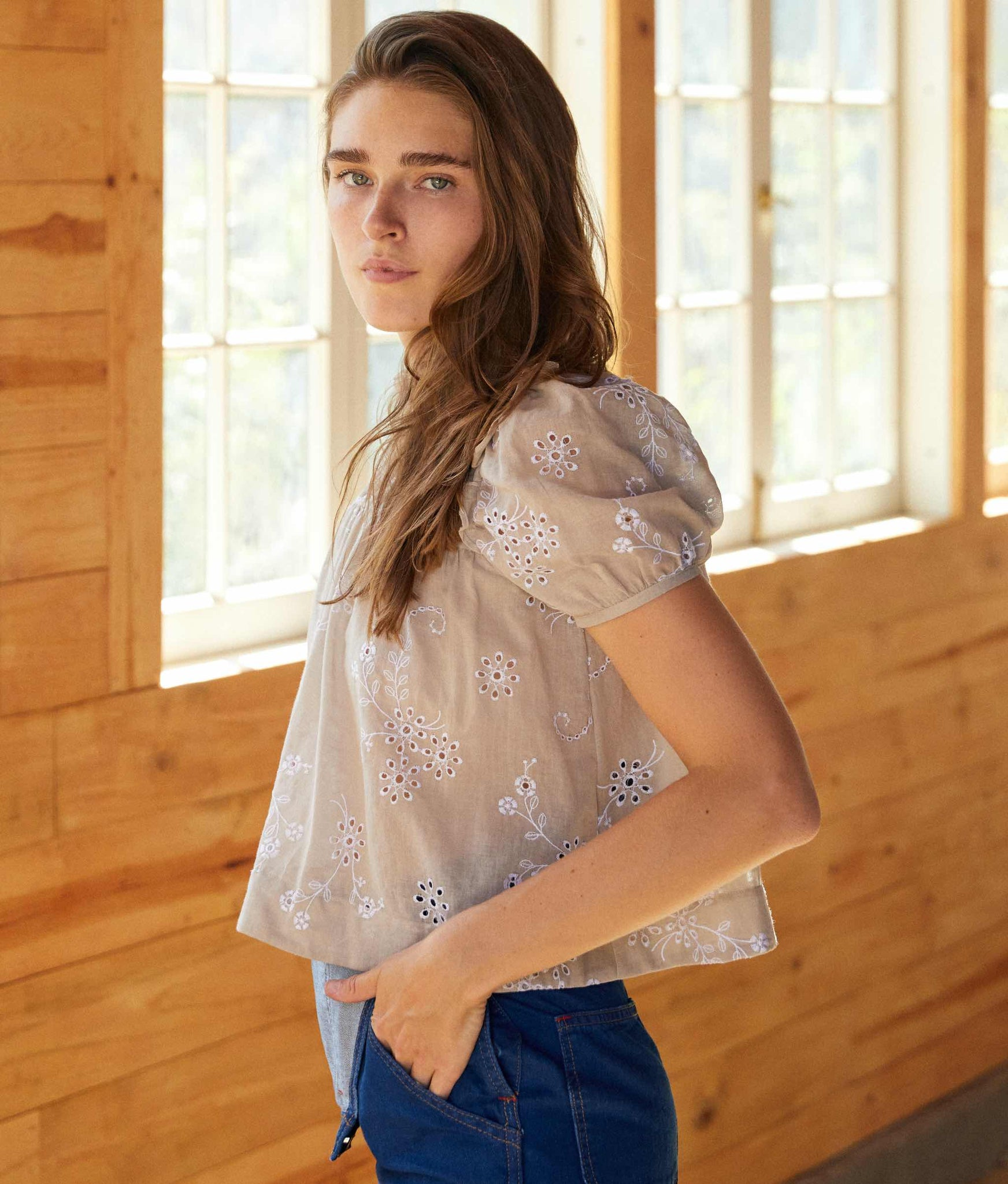 The Eisley Top | Washed Taupe Embroider