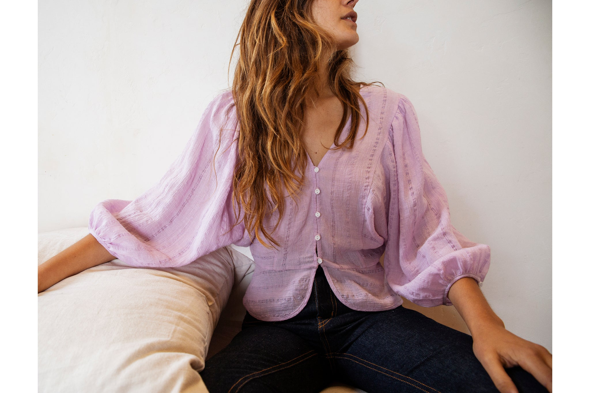The Emmy Top | Woven Lilac