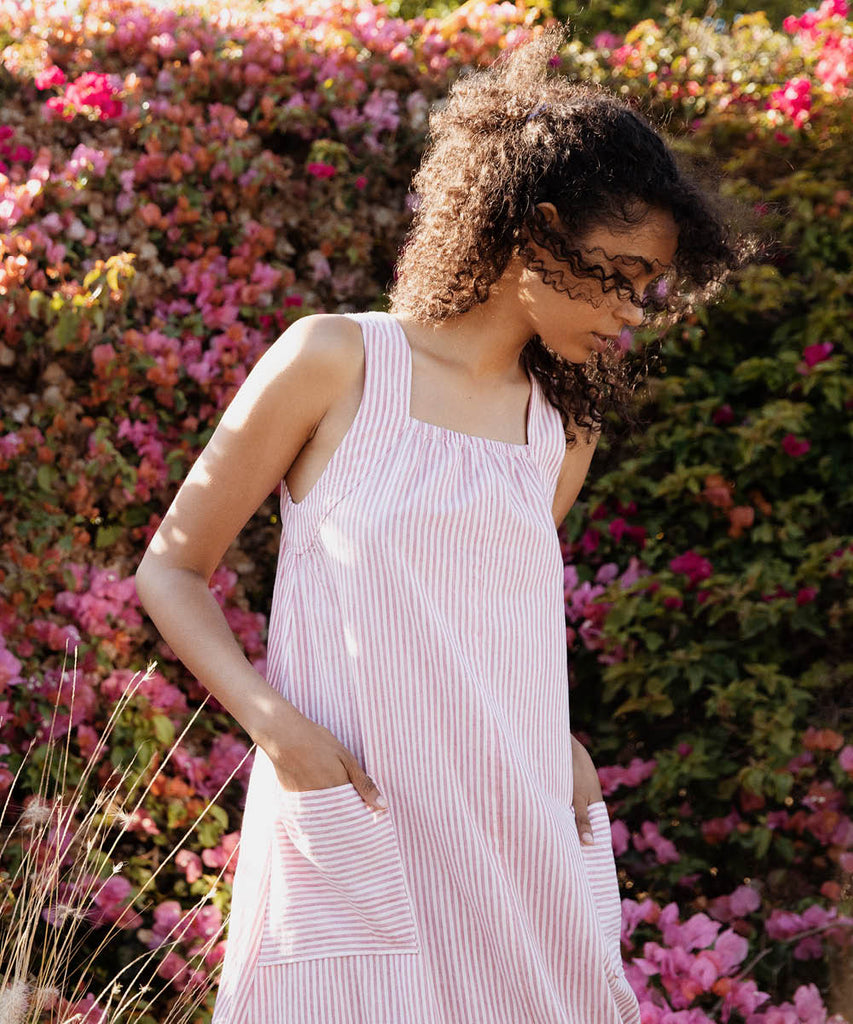 The Etta Dress | Raspberry Stripe