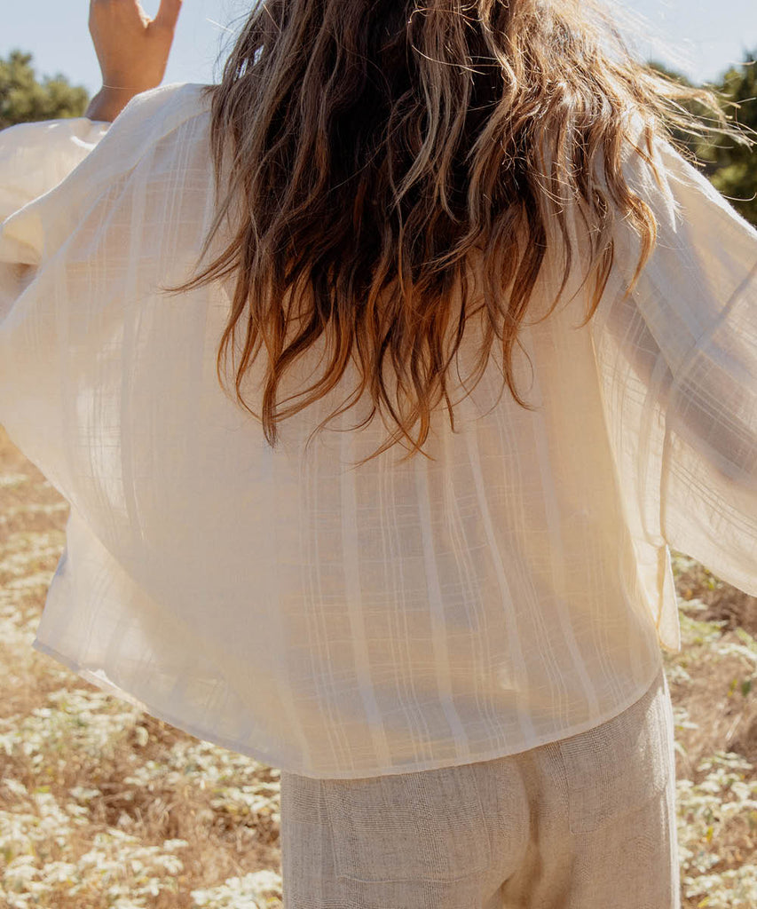 The Faye Top | Oatmilk Plaid