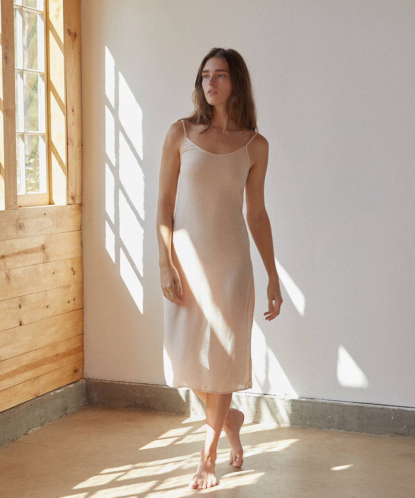 The Flora Slip (Long) | Beige Shell