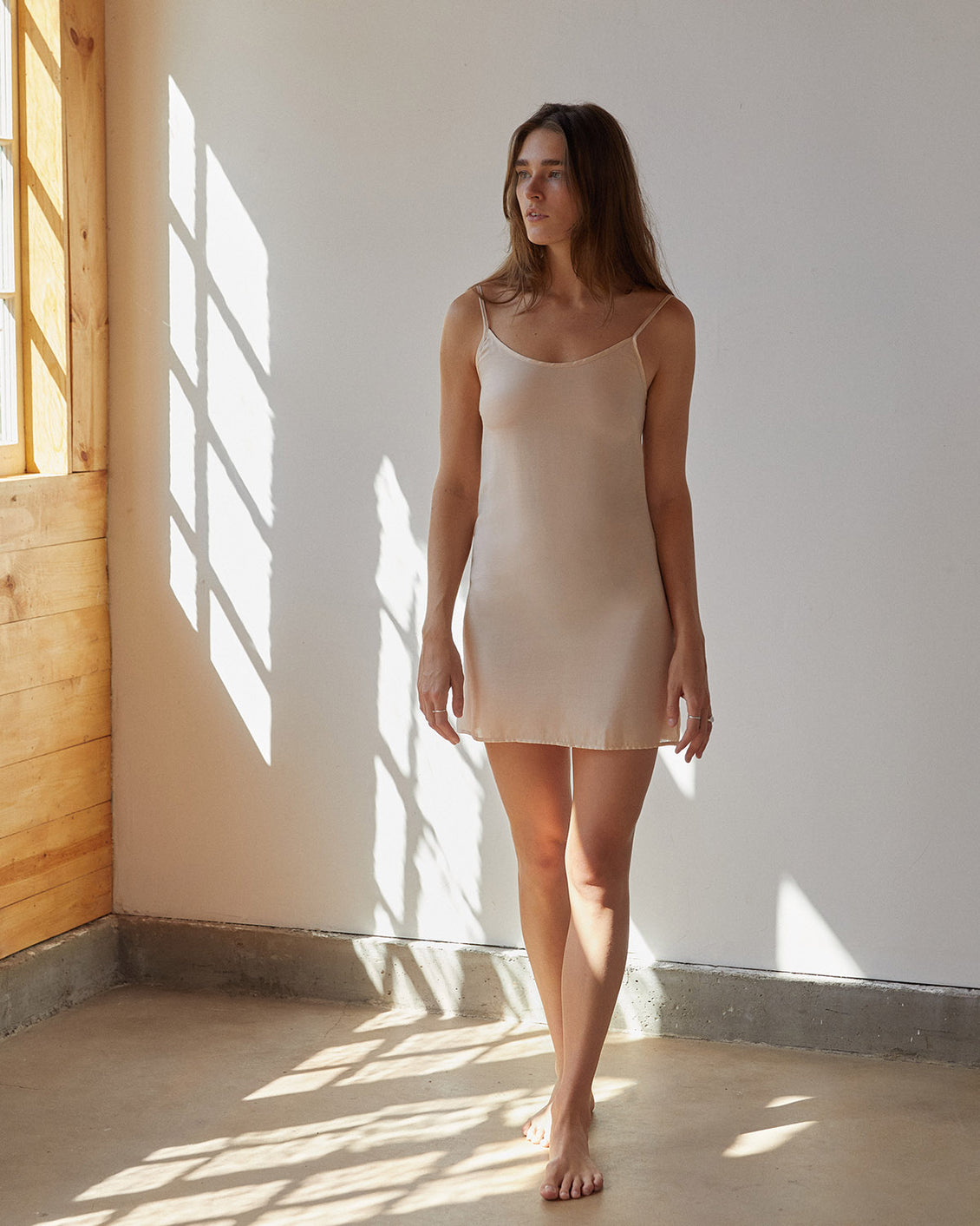 The Flora Slip (Short) | Beige Shell