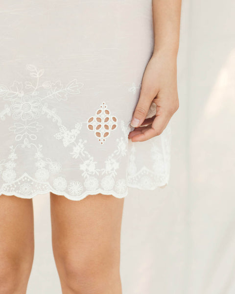 The Flora Slip (Short) | Lace Embroider