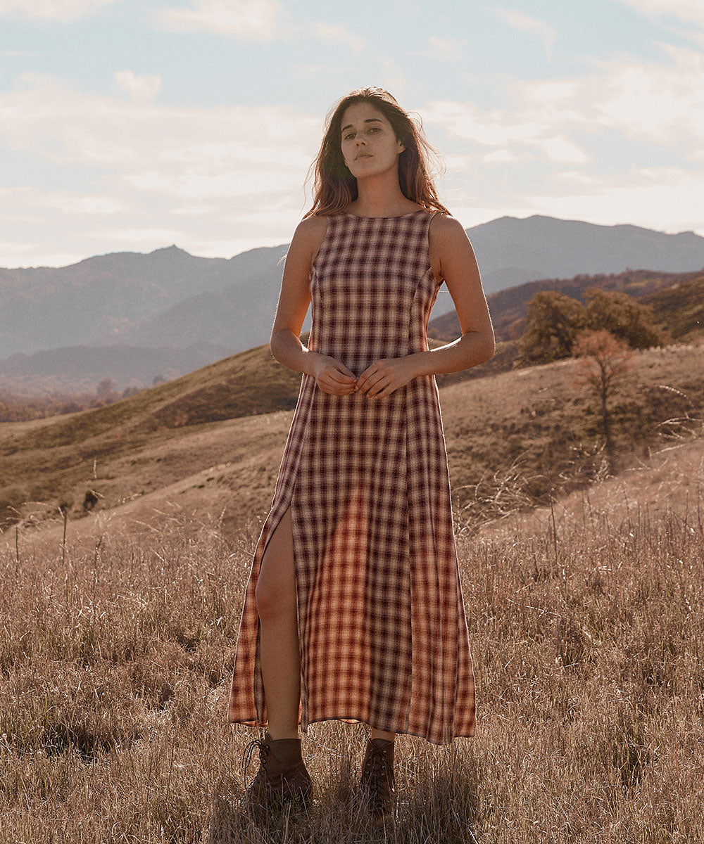 The Gia Dress | Currant Plaid