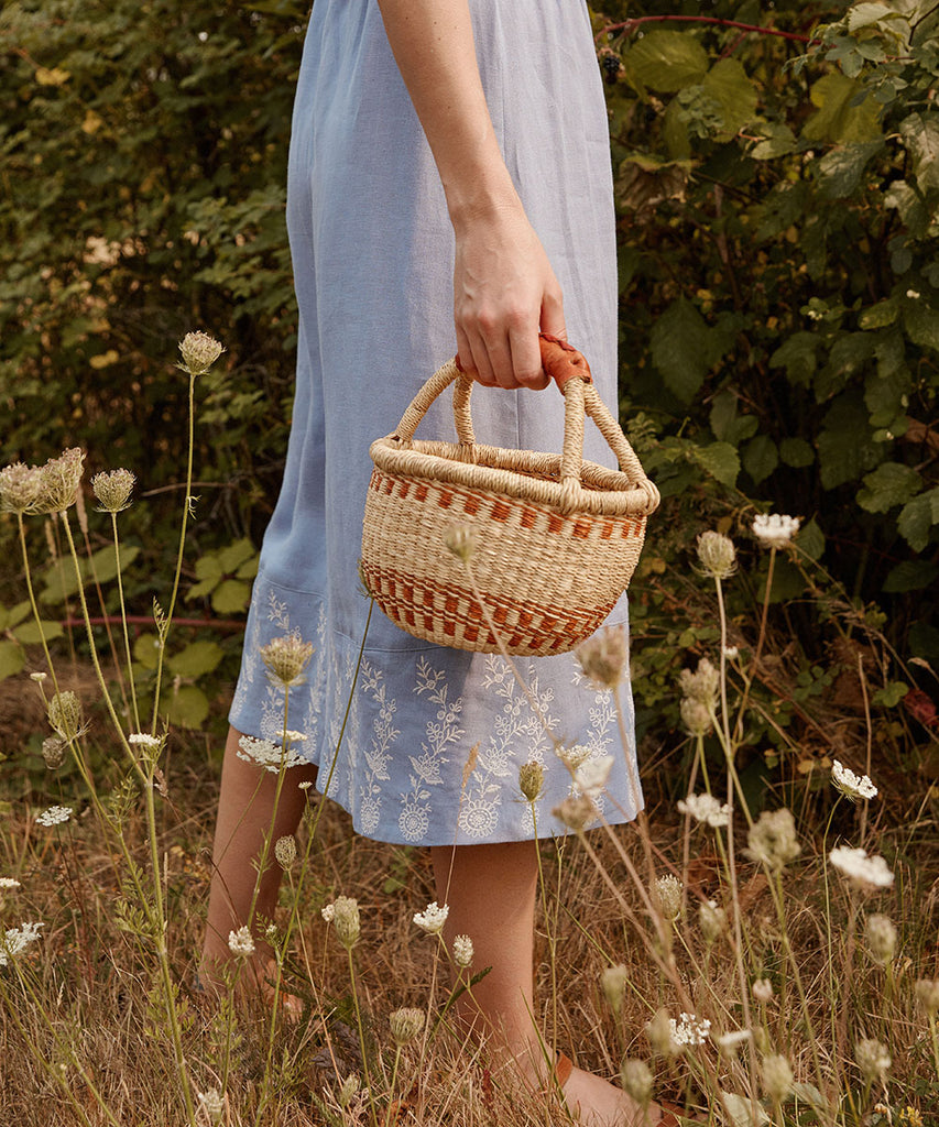 The Gretchen Dress | Sky Embroider (Linen)