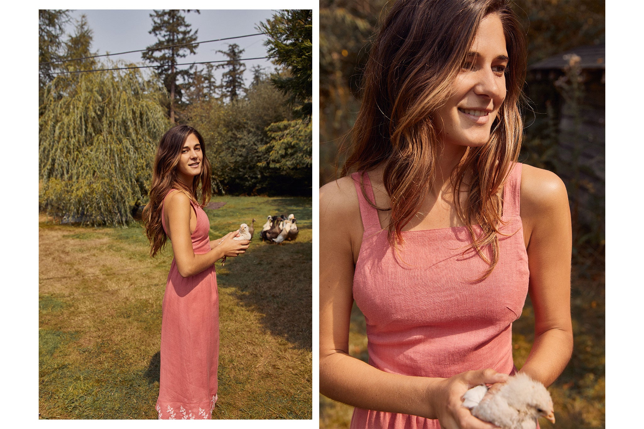 The Gretchen Dress | Coral Embroider (Linen)