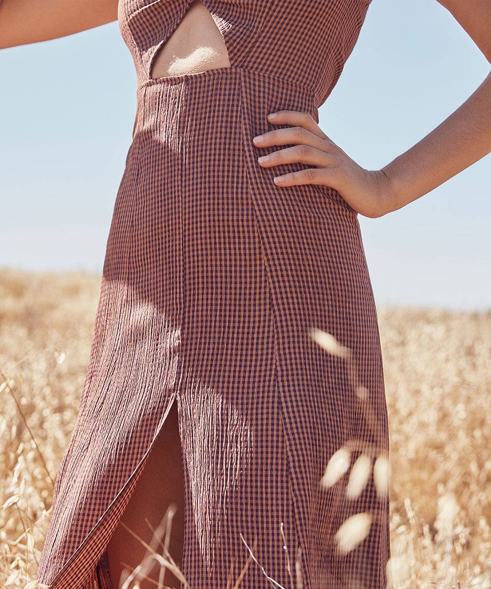 The Harper Dress | Eggplant Gingham