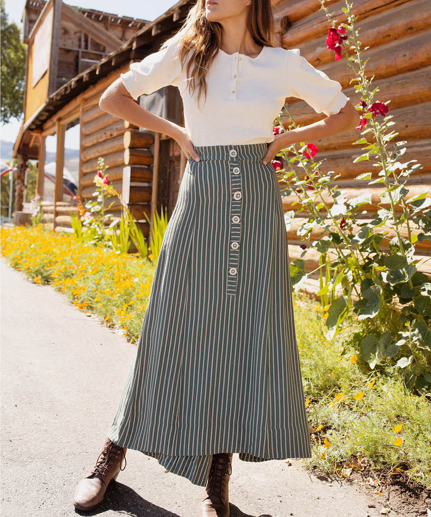 The Ida Skirt | Olive Stripe