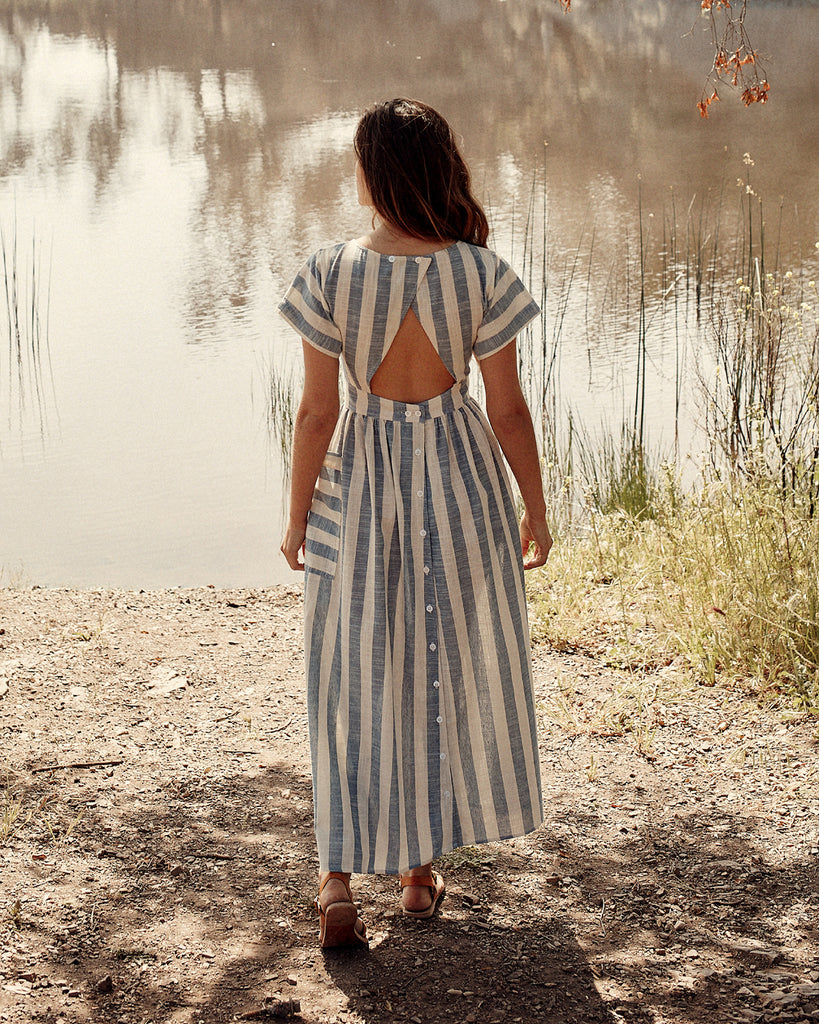 The Jane Dress | Washed Sky Stripe