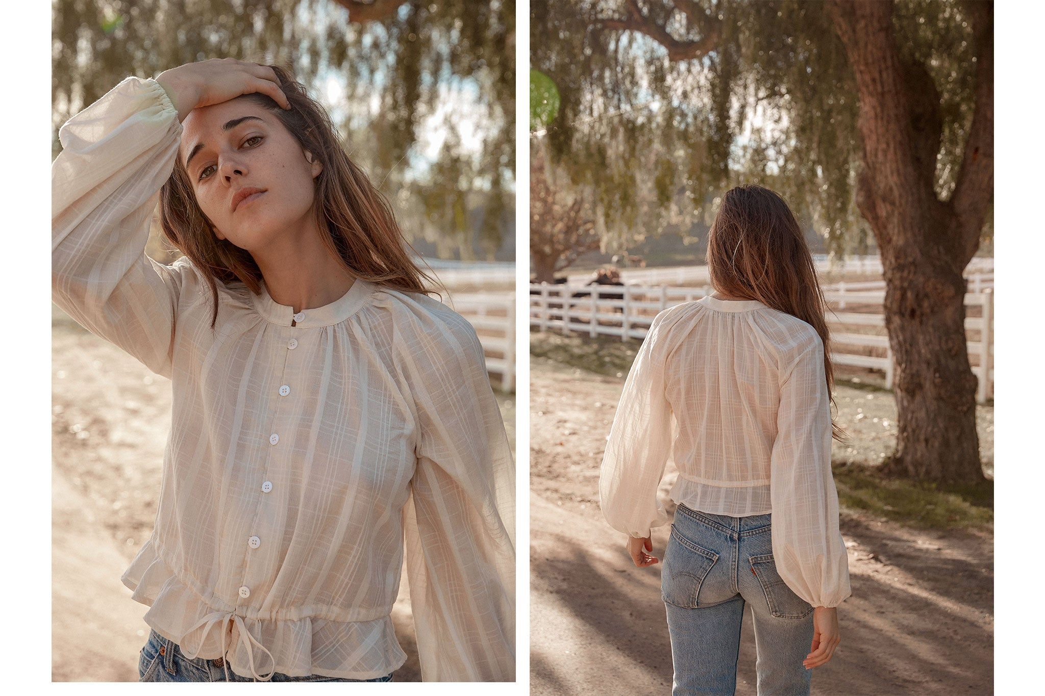 The Josephine Blouse | Oatmilk Plaid
