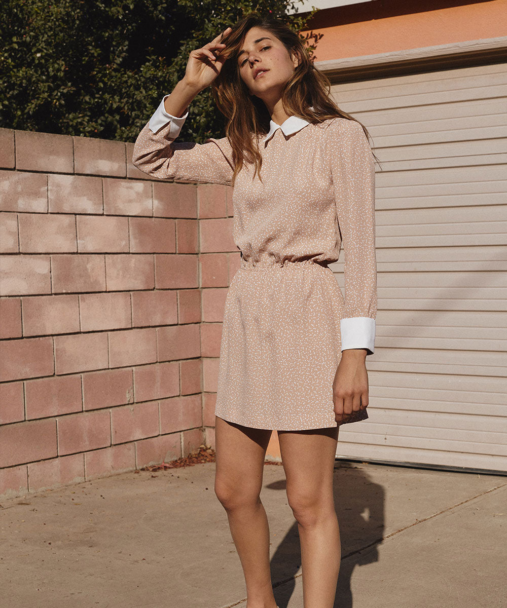 The Leah Dress | Mauve Dot