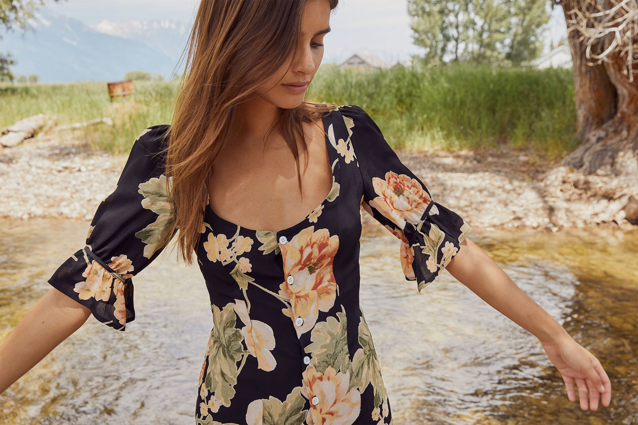The Lennon Dress | Night Peony