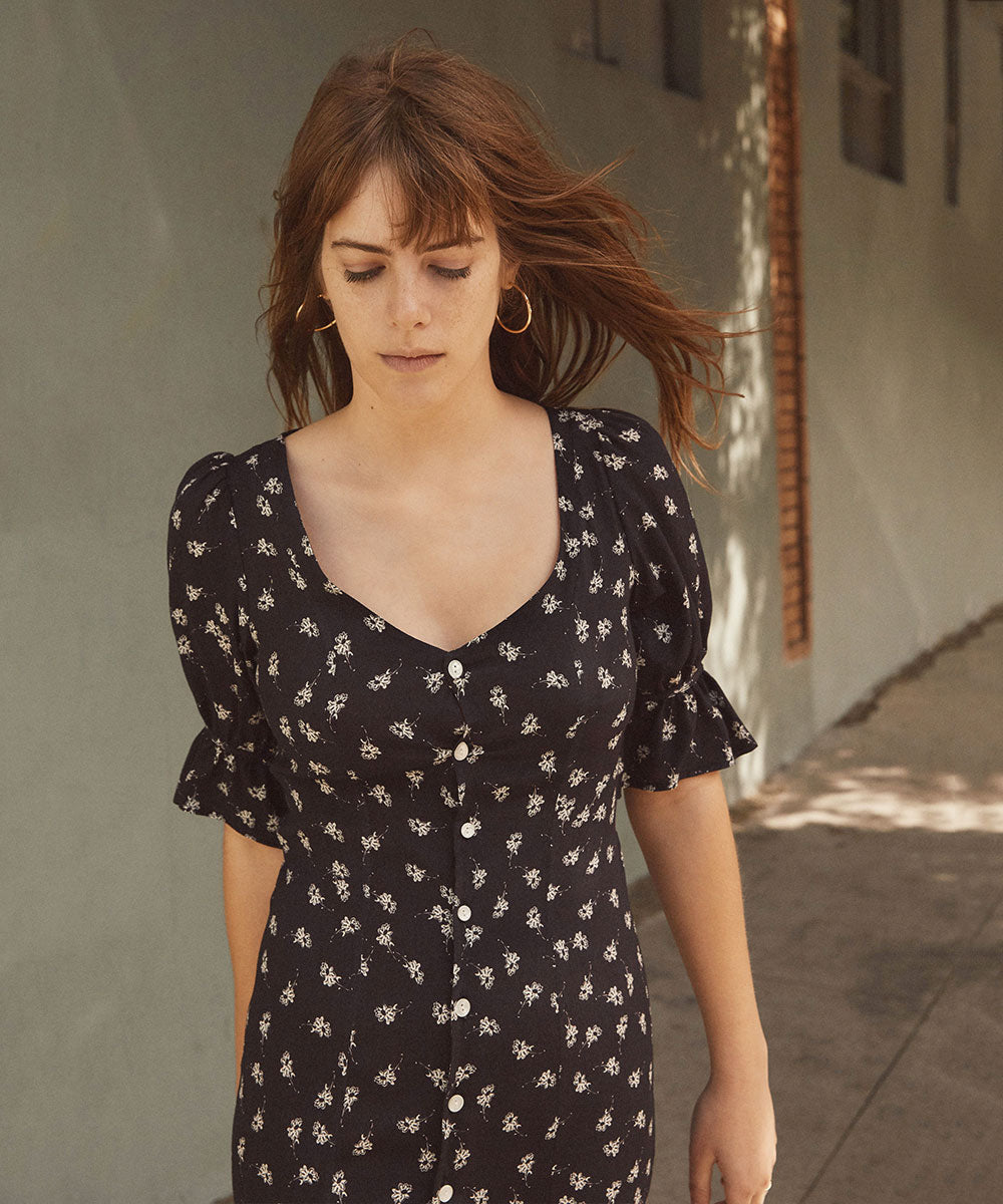 The Lennon Dress | Ebony Floral