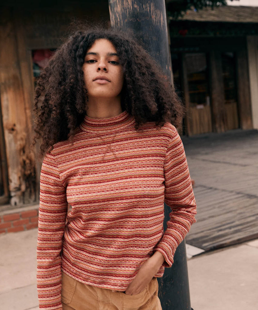 The Libby Top | Coral Stripe Embroider image 4