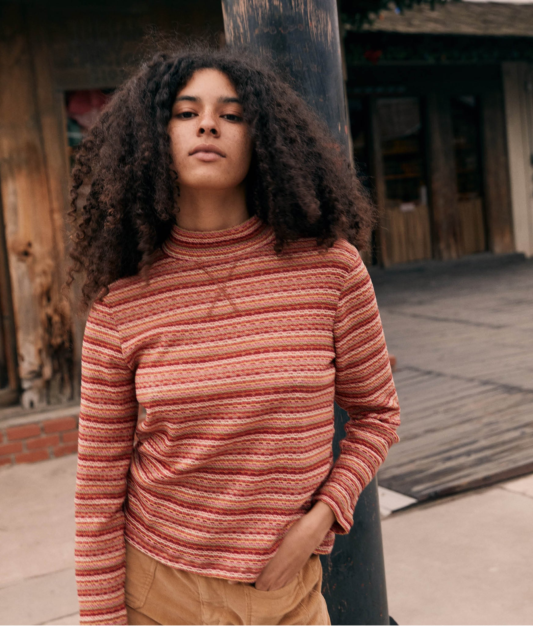 The Libby Top | Coral Stripe Embroider