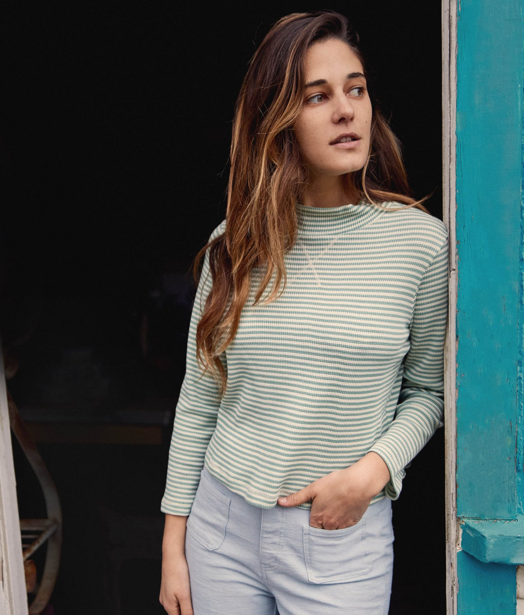The Libby Top | Woven Linden Stripe