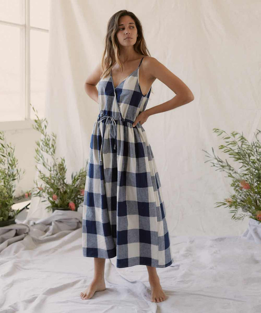 The Lincoln Dress | Midnight Plaid Linen