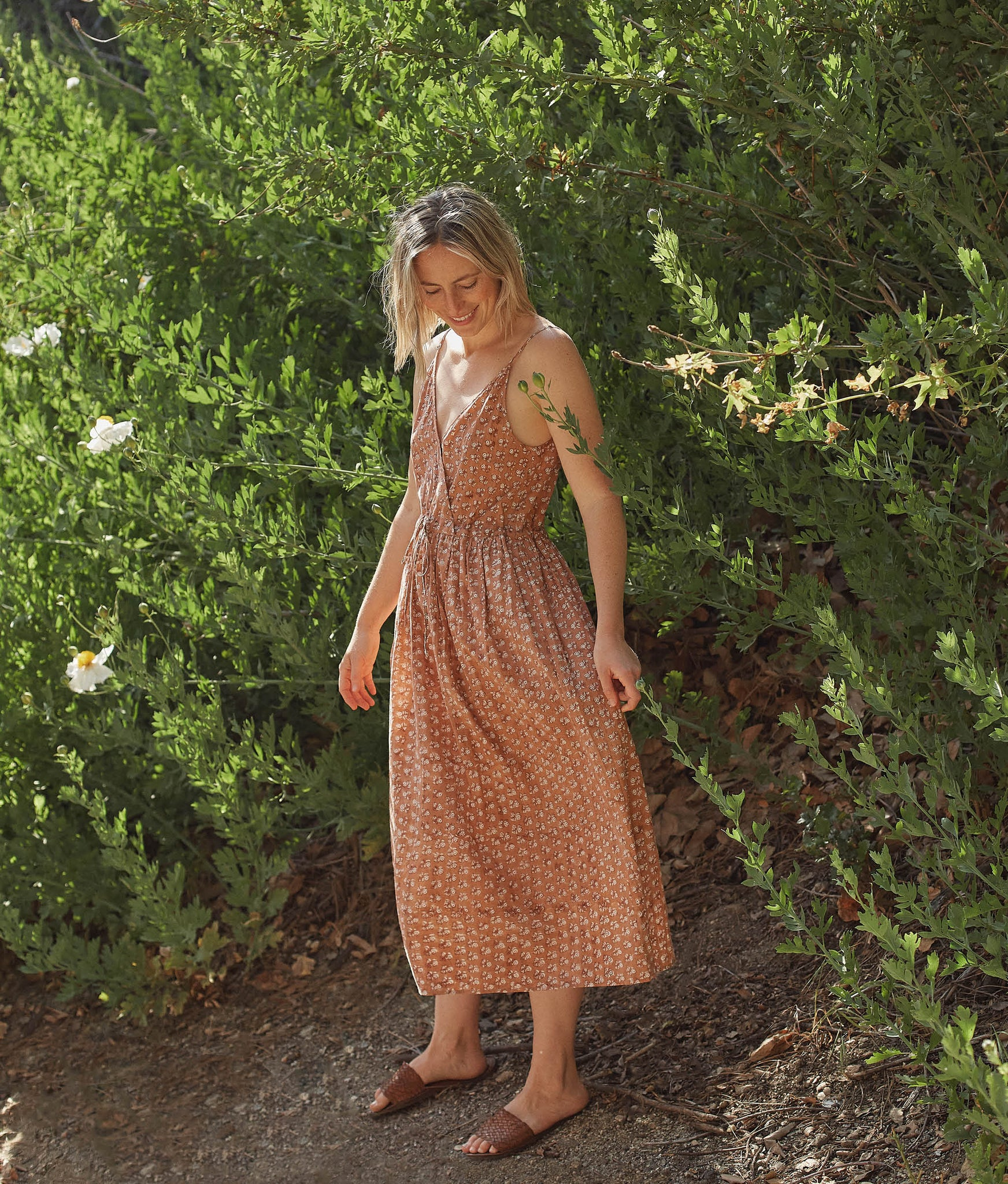 The Lincoln Dress | Rust Meadow (Hand Blocked)