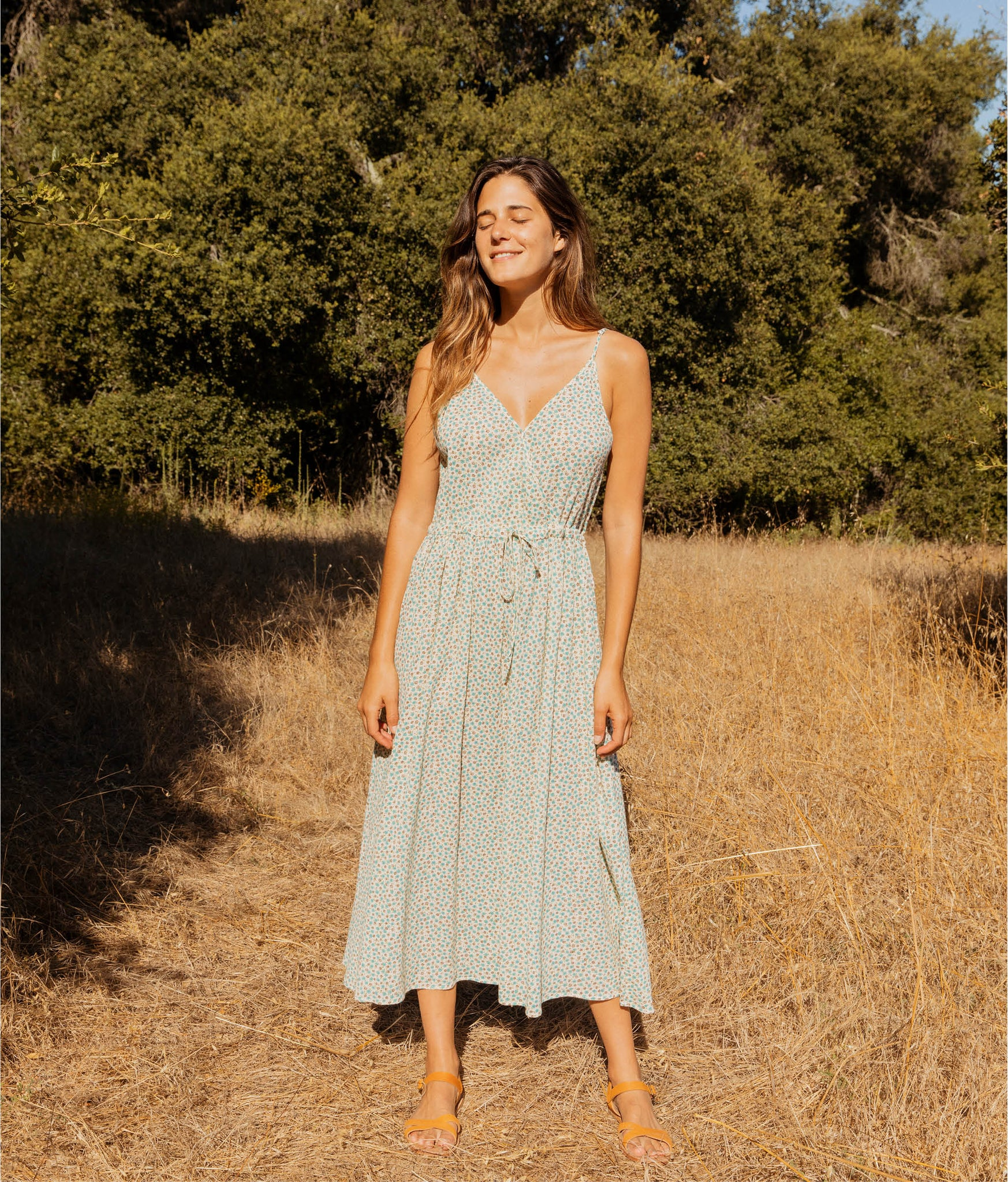 The Lincoln Dress | Turquoise Ditsy