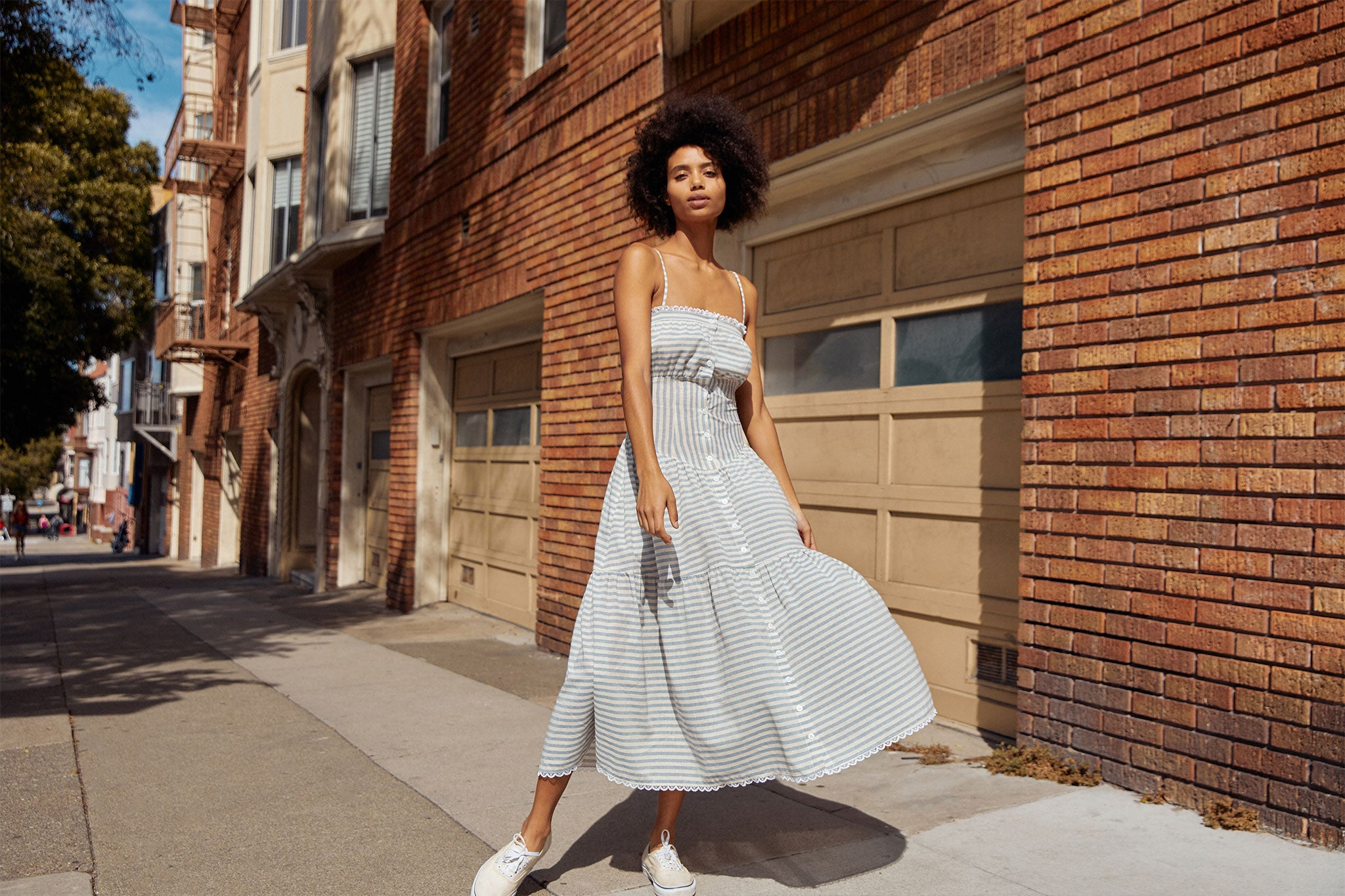 The Lola Dress | Mist Stripe