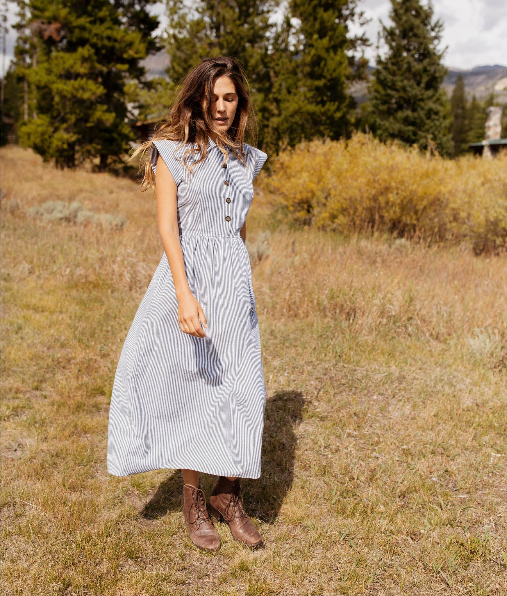 The Piper Dress (Long) | Slate Stripe