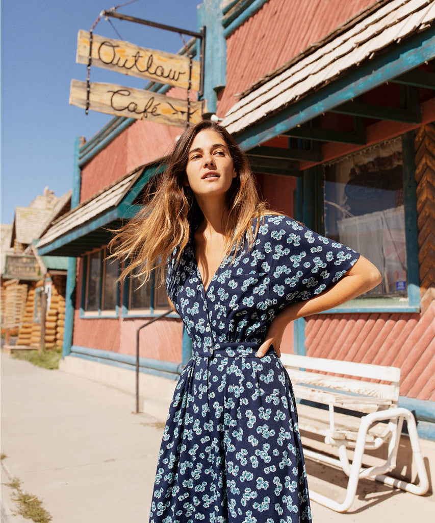 The Lottie Dress | Navy Bloom