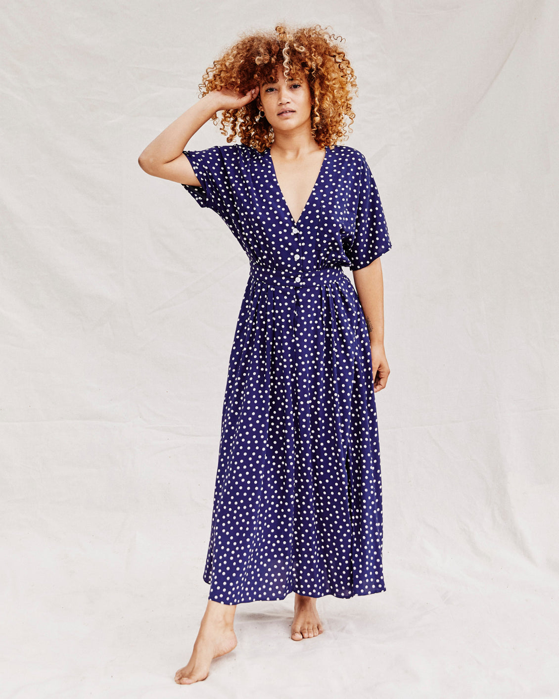 The Lottie Dress Petites | Sapphire Dot