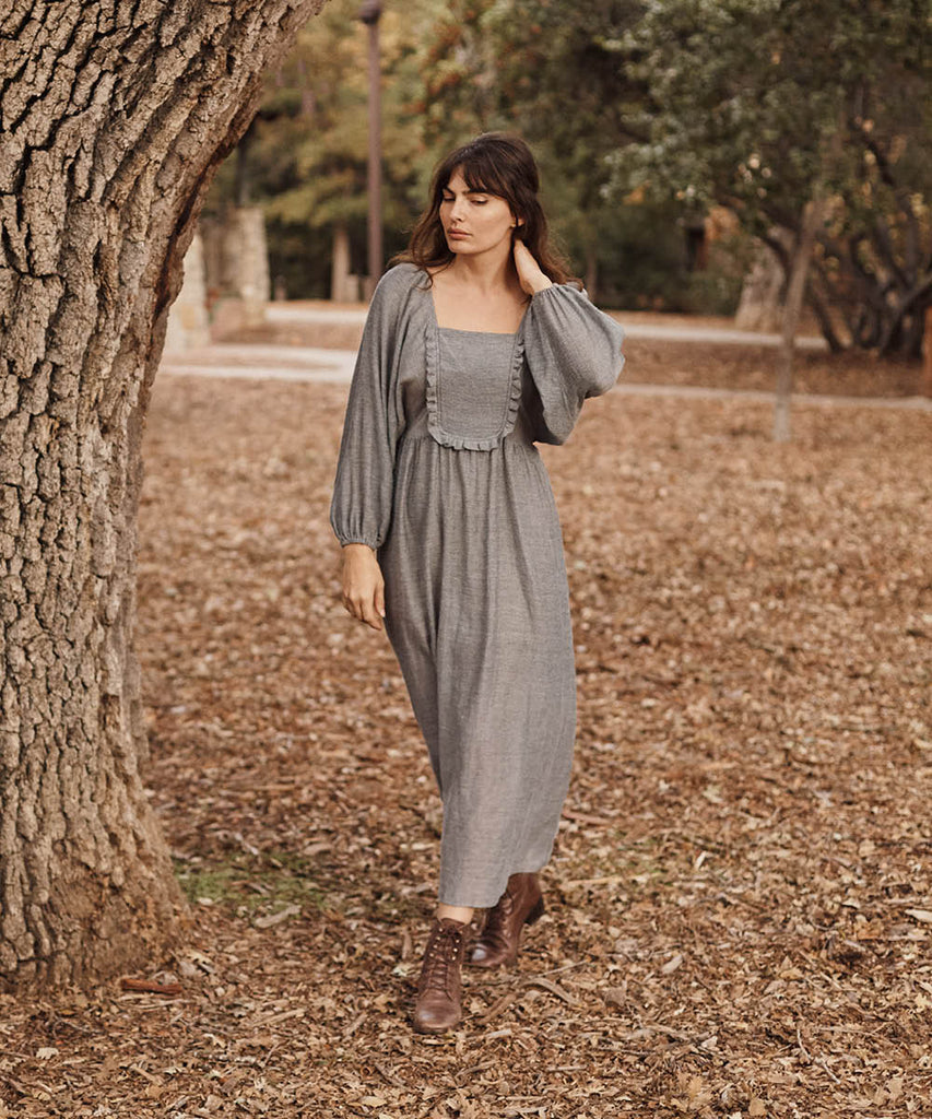 The Lucinda Dress | Charcoal Stripe image 14