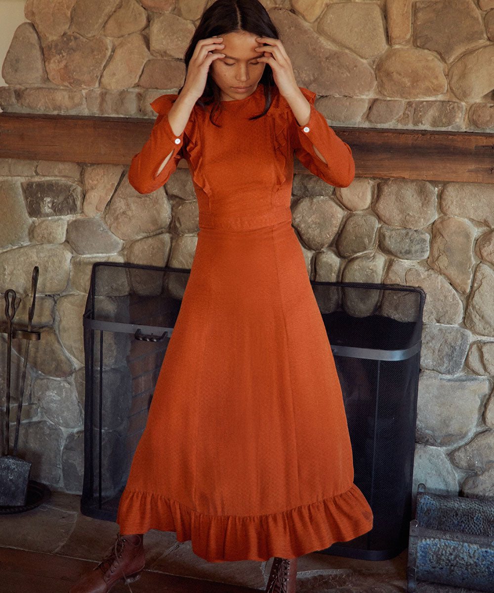 The Mabel Dress | Crinkled Rust