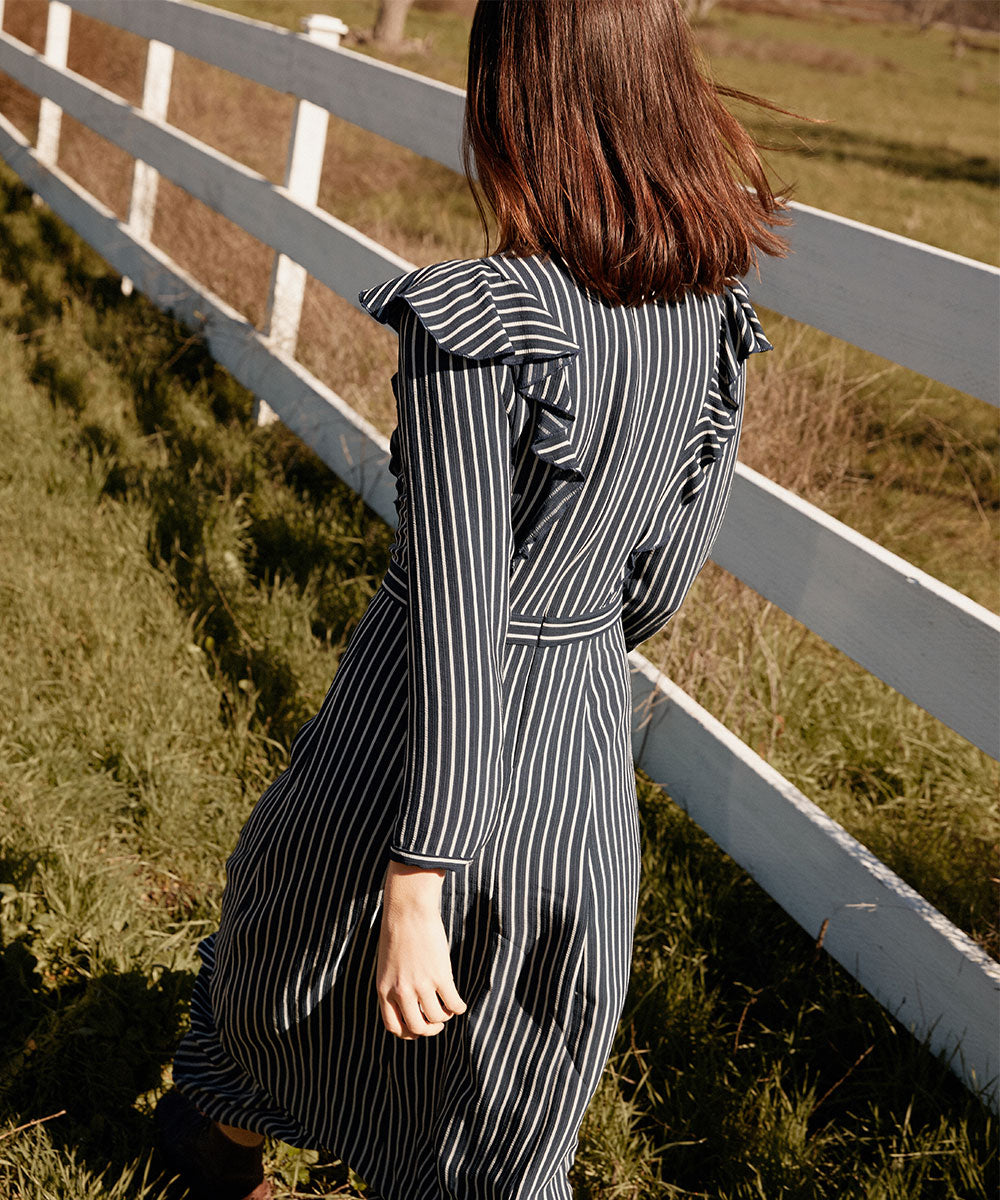 The Mabel Dress | Midnight Stripe