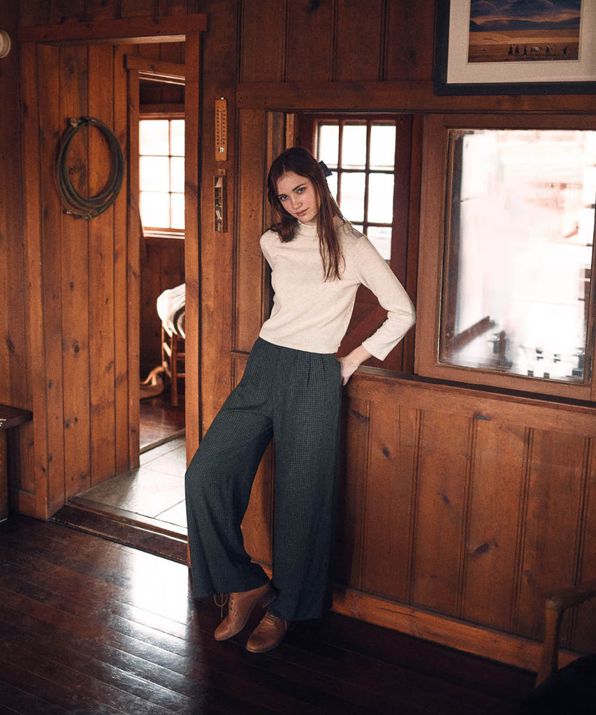The Mara Trouser | Forest Plaid image 2