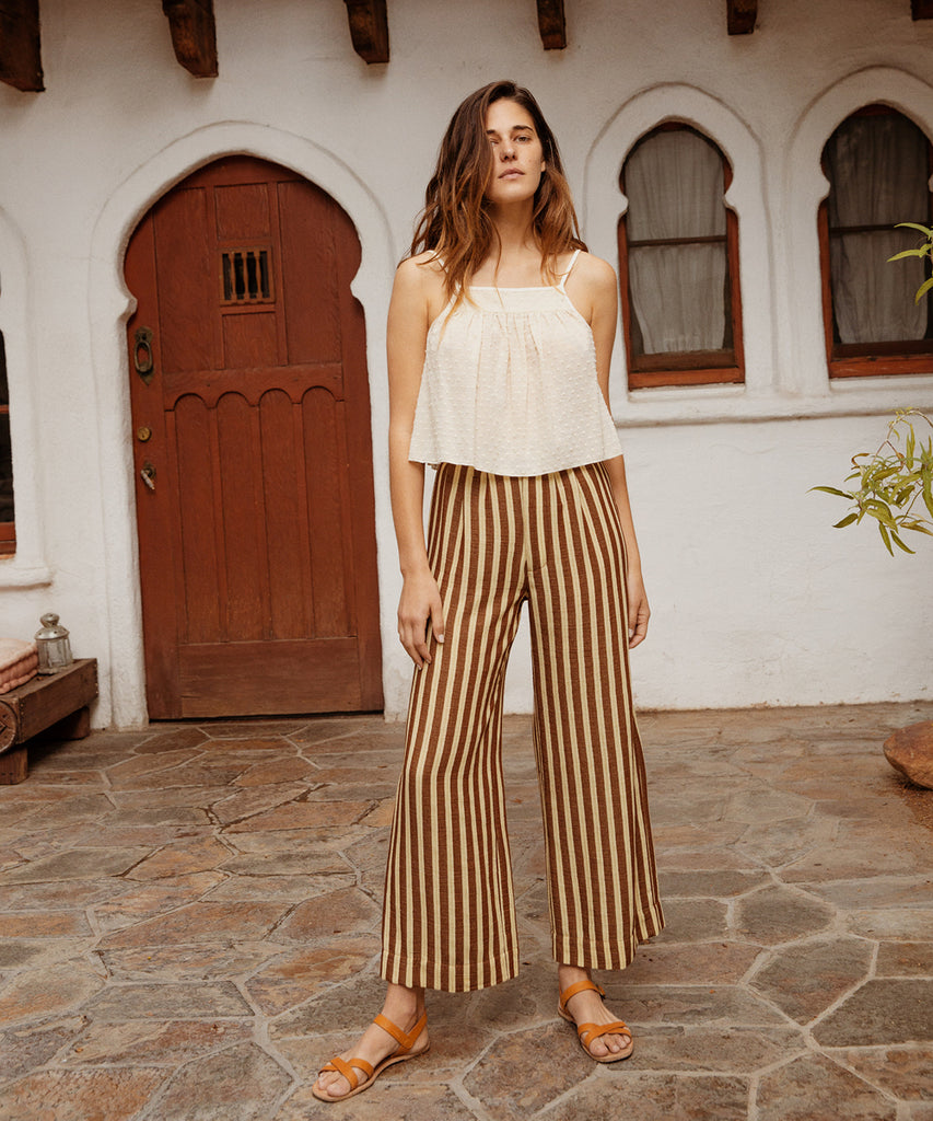 The Mara Trouser | Nutmeg Stripe image 2