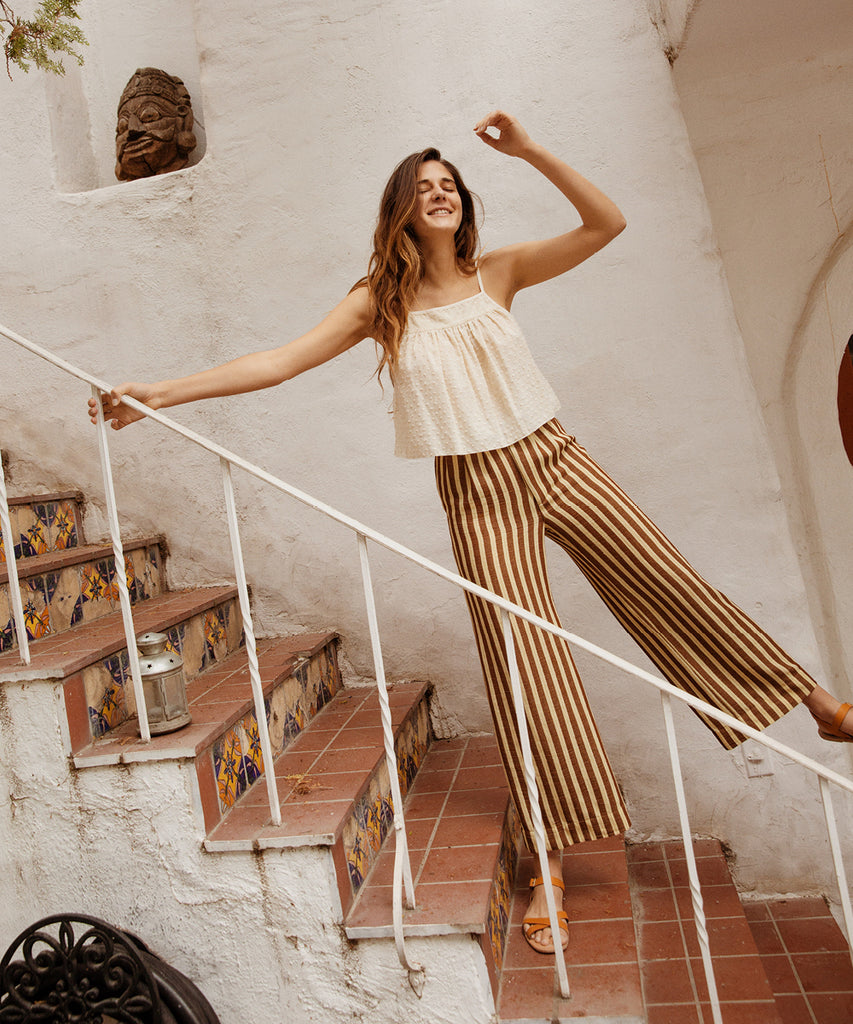 The Mara Trouser | Nutmeg Stripe image 8